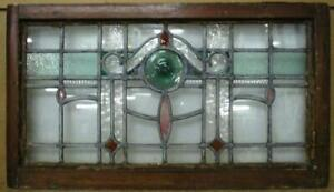 "OLD ENGLISH LEADED STAINED GLASS WINDOW TRANSOM Lovely Bullseye 31.5"" x 17.75"""