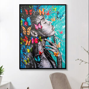 African Black Woman Graffiti Art Posters Prints Abstract African Girl Butterfly