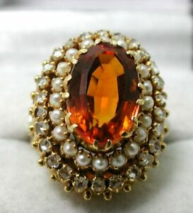 Beautiful Very Large 18 carat Gold Citrine Diamond And Pearl Dress Ring Size O