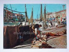 CESENATICO porto canale barche pescatori Lambretta o Vespa Forlì cartolina