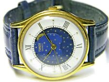 mens Timex True Moonphase Fancy Face Gold Plated Vintage Old Dress Watch