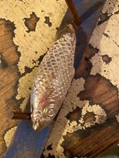 Antique Large Christmas Ornament Fish Blown Glass Silver Figural Victorian