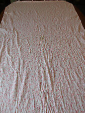 Pink White Floral Ruffled Long Window Shade Shower Curtain Tie Top Toile Look