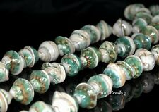 SPIRAL SHELL GEMSTONE GREEN CREAM SPIRAL SWIRL CORKSCREW 15X7MM LOOSE BEADS 7""