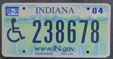 Indiana 2004 HANDICAPPED www.IN.gov MOTTO License Plate # 238678