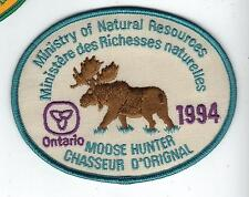 1994 ONTARIO MNR MOOSE HUNTER PATCH-MICHIGAN DNR DEER-BEAR-ELK-CREST-BADGE-FISH