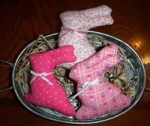 Set of 3 Fabric Easter Bunny Primitive Bowl Filler Farm House country Ornie Pink