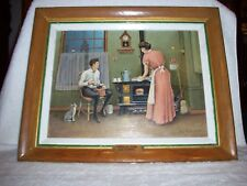 OIL PAINTING 1900'S KITCHEN SCENE CAT CLOCK CAST IRON STOVE COFFEE GRINDER