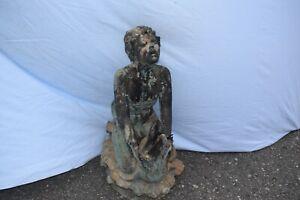 Bronze-Brunnen, Delfinreiter, Frankreich, sehr schöne Antikpatina, 78cm
