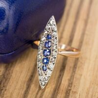 4Ct Round Cut Blue Sapphire Diamond Antique Vintage Ring 14K Rose Gold Finish