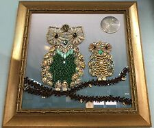 Queen And Prince Owl Bejeweled Hand-Made Art Piece Crafted By Carole Dooley Long