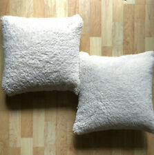 habitat Throw PIllows Ivory Faux Sheepskin/Suede Cover Feather Insert Set TWO