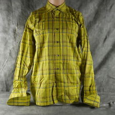 c16fd9a1357be Ted Baker London Mens Rare Chartreuse Plaid French Cuff Dress Shirt 17 43.5  ANB