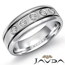 9mm Mens Half Wedding Band 5 Stone Round Diamond Solid Platinum 950 Ring 0.25Ct