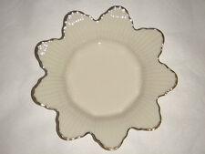 "Lenox Fine Porcelain 9 Petal Flower Bowl Ribbed & 24 K Edge Trim Usa 7.75""X 1.5"""