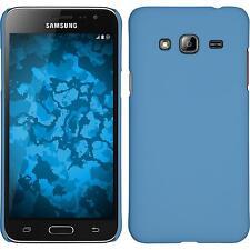 Coque Rigide Samsung Galaxy J3 - gommée bleu clair + films de protection