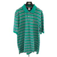 Brooks Brothers Mens Large Teal Green striped Short Sleeve Polo Shirt L-29