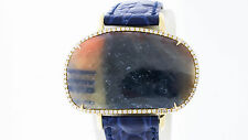 14K White Gold 39.10 Carat Sapphire White Diamonds French Made Blue Leather Band