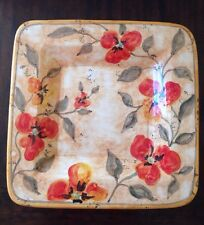 New Decorative Square Wall Plate Hand Painted in Italy Red Floral Design 14 3/4""