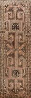 Vintage Wool Geometric Tribal Runner Rug Hand-Knotted Traditional Carpet 4x10