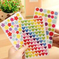 6Pcs/Set Colorful Paper Sticker Lovely Star/Heart/Dot Pattern Stickers DIY Neu