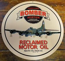 "BOMBER AVIATION RECLAIMED MOTOR OIL 14"" ROUND HEAVY DUTY METAL ADVERTISING SIGN"