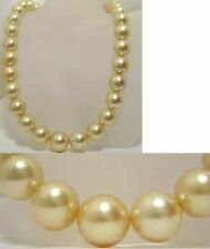 "sea golden shell pearl necklace 18"" Genuine Aaa 12mm south"
