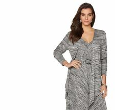 Liz Lange Draped Front Ultimate Cardigan in Heather Grey, L