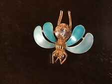 Vintage Brooch Pin Bee butterfly Insect Enamel Wings Jeweled belly