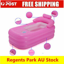 FOLDABLE ADULT INFLATABLE BATH TUB PORTABLE CAMPING BLOW UP BLOWUP BATHTUB PINK