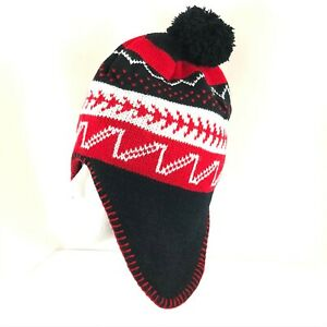 Polar Wear Kids Beanie Hat Ear Flaps Fleece Lined Striped Knit Pom Red Black OS
