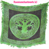 """Celtic Tree of Life Black and Green Altar Cloth 18"""" x 18"""" Tapestries Sarong"""
