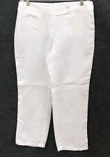 "EILEEN FISHER Size M L XL Breezy White Linen Casual Pants Solid 35 x 31 45"" Hip"