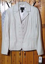 Lamb Leather Lined Ivory Blazer with Pockets by John Paul Richard, Size S, NWT