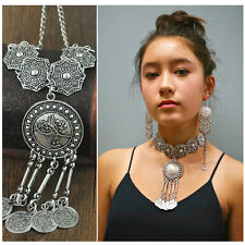Bohemia Retro Metal Silver Coins Chain Collar Choker Necklace Pendent Jewelry UK