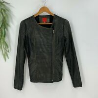 Red Saks Fifth Avenue Womens Leather Zip Up Jacket Black Metallic Bomber Moto
