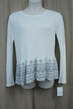 Sanctuary Blouse Sz XL White Grey Embroidered Knit Long Sleeve Casual Top