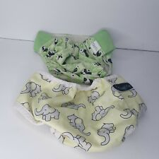2 Cloth Diaper Covers GroVia Pandas Imagine Elephants Used Clean