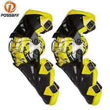 Pair Motorcycle Racing Motocross Knee Pads Protector Guards Gear Offroad Yellow