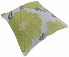"POPPY LIME GREEN WHITE SILVER CHENILLE THICK CUSHION COVER 18"" - 45CM"