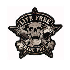 Biker Chopper Ride Live Free Skull Bones Aufbügler Aufnäher Patch Backpatch Groß