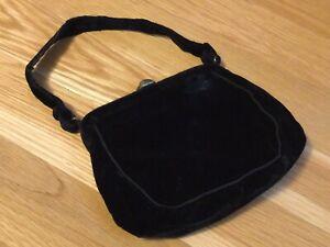 Vintage 1950s MM Purse MORRIS MOSKOWITZ Black Velvet Evening Bag w Coin Purse!