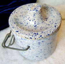 Vintage Blue Grey Glazed Food Stoneware Crock / Lid & Bale Crock Jar USA