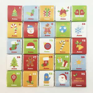 25 PERSONALISED Christmas X'mas Advent Calendar Milk CHOCOLATE Squares Fillers