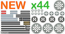 x44 Lego AXLES + GEARS Kit  (technic,nxt,mindstorms,robot,motor,cogs,connectors)
