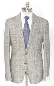 NWT CARUSO Gray Beige Glen Check Alpaca Wool Slim Fit Sport Coat 40 R (EU 50)