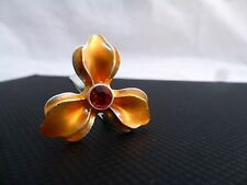 Pilgrim Jewelry Orange Swarovski Crystal Adjustable Trillium Flower Ring: 321714