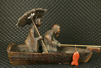 chinese old bronze old fisherman Jiang Ziya statue figure on boat home deco