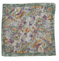 """LOVELY GREEN SCARF 100% SILK FLORAL32""""/33"""" EXCELLENT CONDITION"""