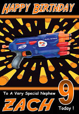NERF Personalised Birthday Card 1!! ANY NAME, RELATION & AGE - COOL CARD !